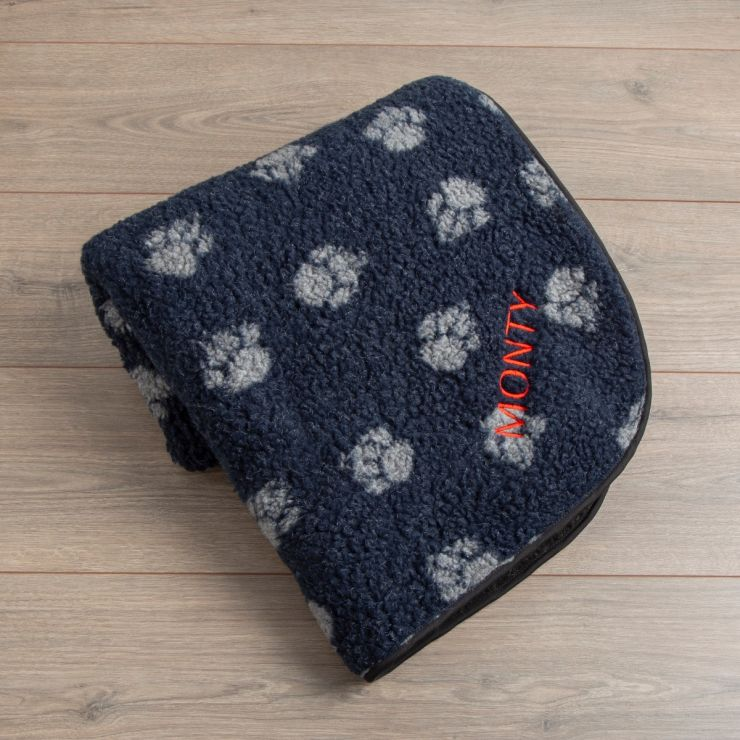 Personalised Navy Paw Print Pet Blanket