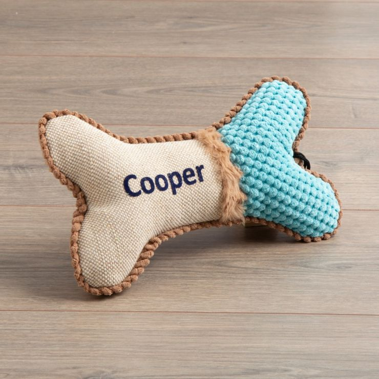 Personalised Blue Bone Pet Toy