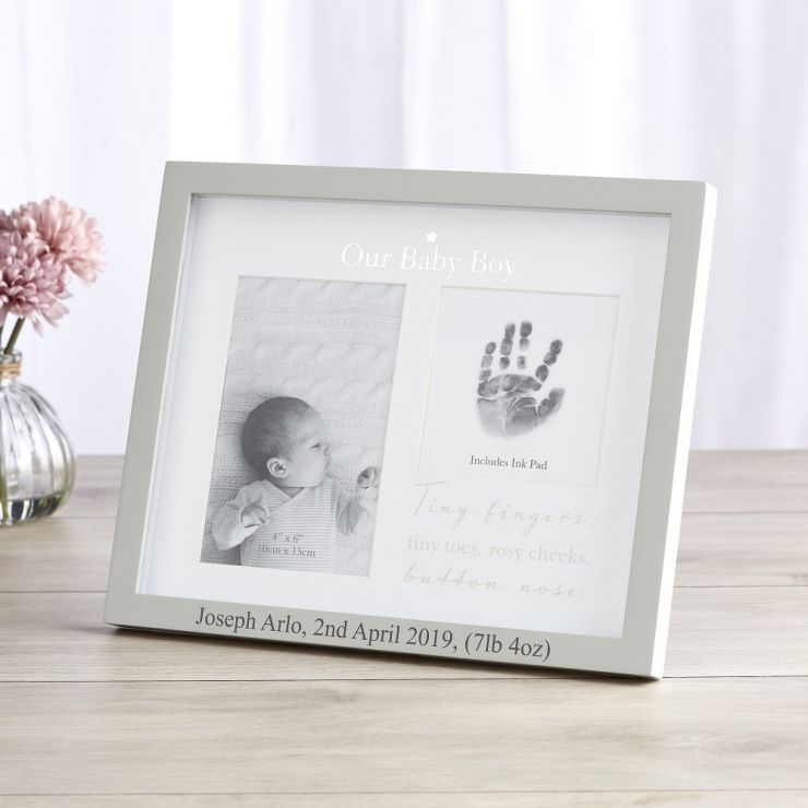 Personalised 'Our Baby Boy' Photo and Ink Print Frame