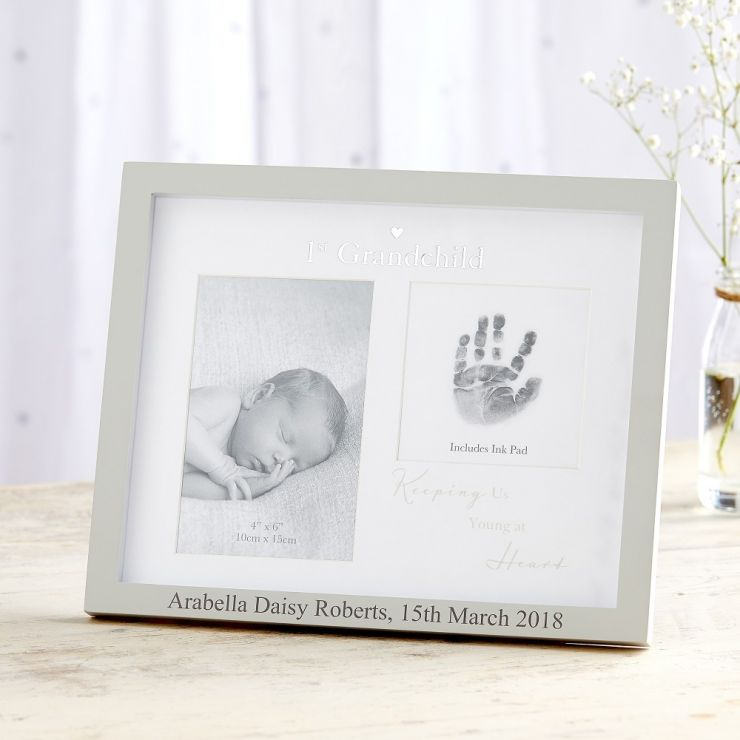 Personalised '1st Grandchild' Photo and Ink Print Frame