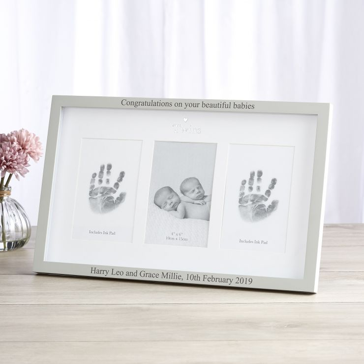 Personalised 'Twins' Photo and Ink Prints Frame