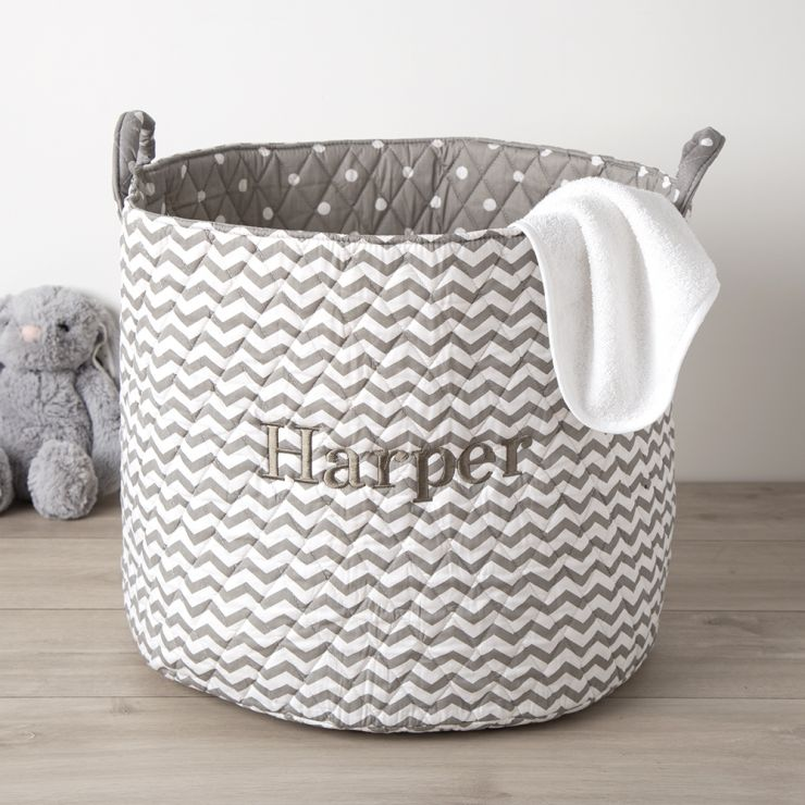 Personalised Large Grey Chevron Storage Bag