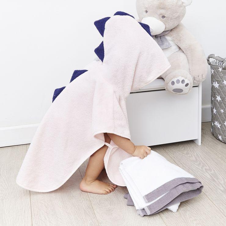 Personalised Pink Dinosaur Poncho Towel