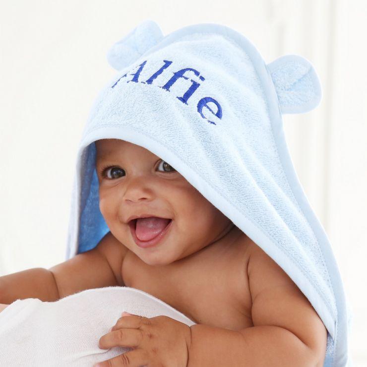 Personalised Blue Hooded Towel Model