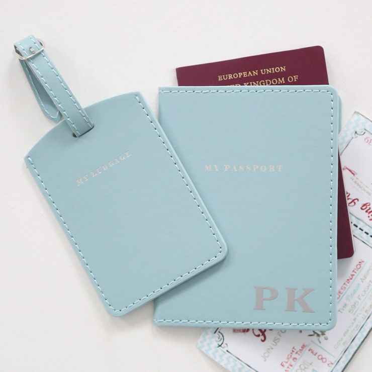 Personalized Passport Holder & Luggage Tag - Blue