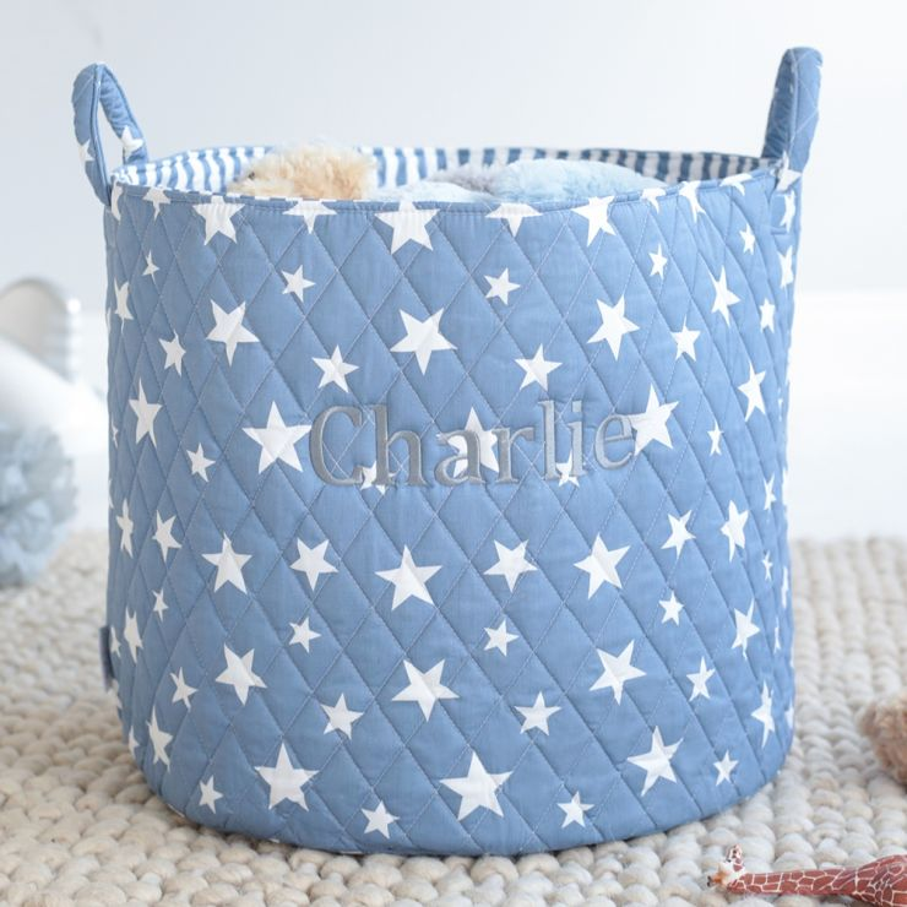 Large Blue Denim Star Storage Bag