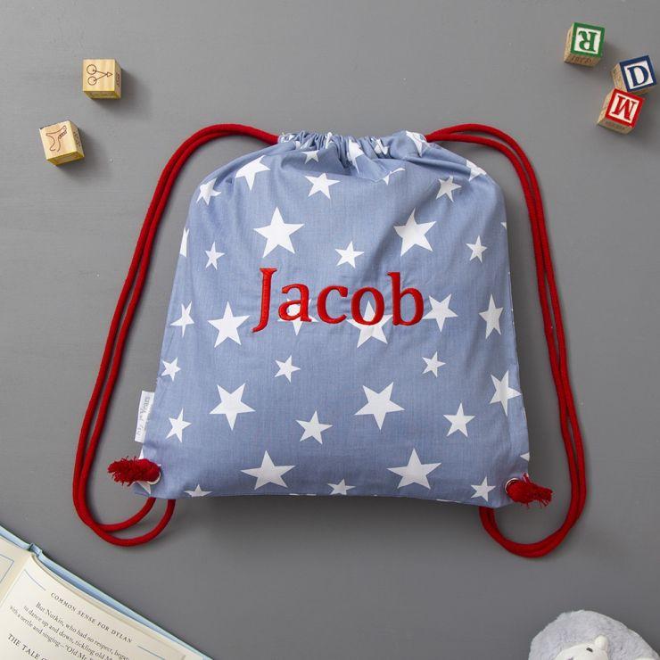 Personalized Navy Star Print Drawstring Bag