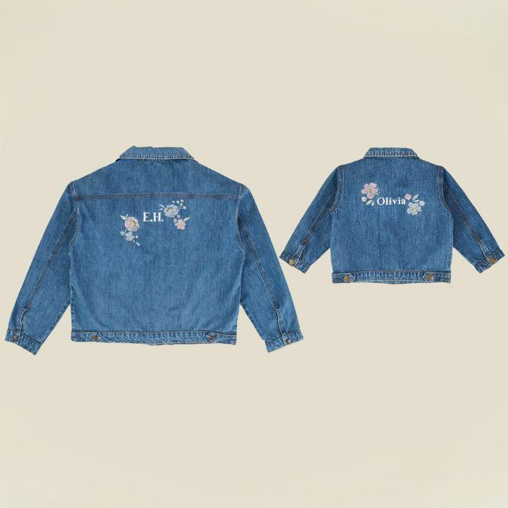 Personalised You & Me Matching Floral Design Denim Jacket Set