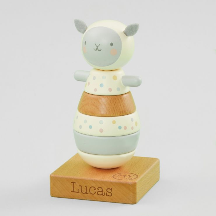 Personalised Wooden Little Lamb Stacker Toy