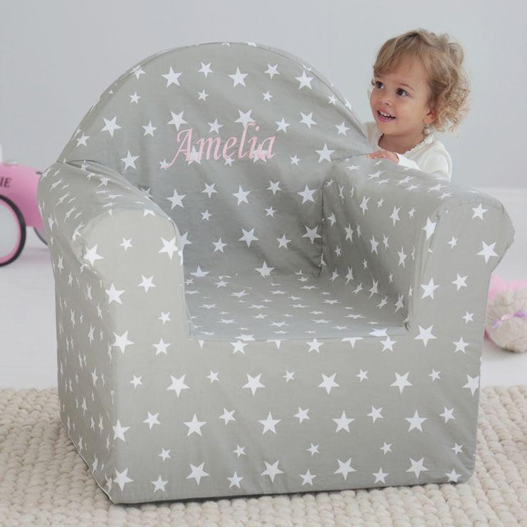Personalised Grey Star Print Chair