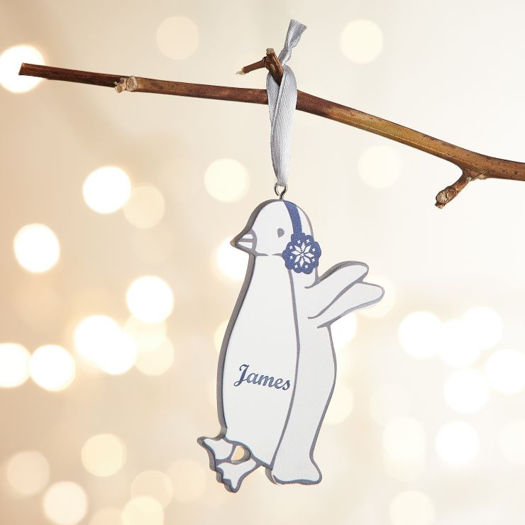 Personalized Wooden Penguin Decoration