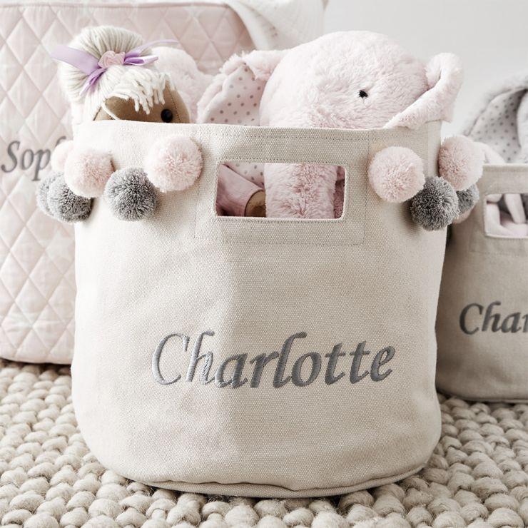 Personalised Medium Canvas Storage Bag with Pink & Grey Pom Poms
