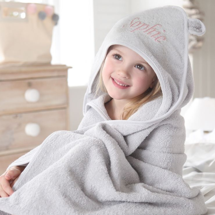 Personalized Large Gray Hooded Towel