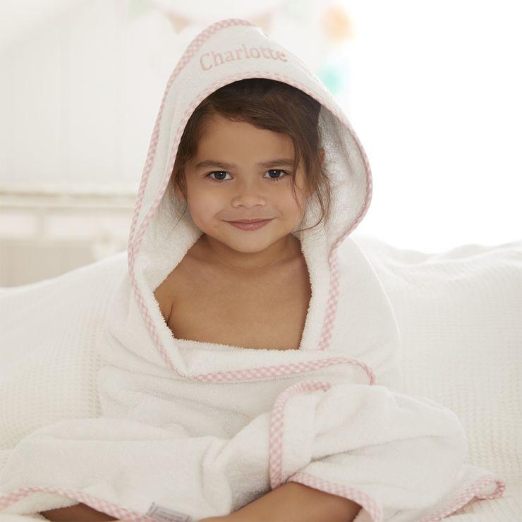 Personalised Pink Gingham Trim Hooded Towel Model