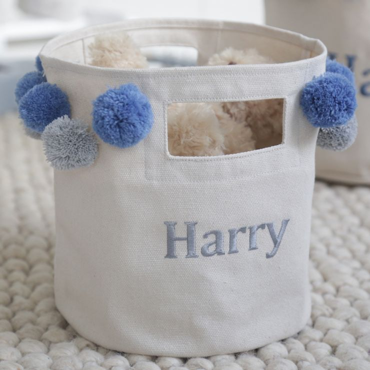 Personalised Small Canvas Storage Bag with Blue & Grey Pom poms