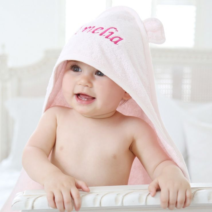 Personalized Pink Hooded Towel