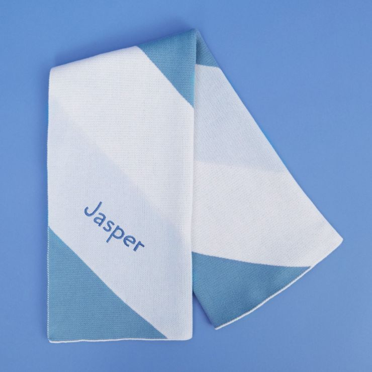 Personalised Blue Intarsia Striped Blanket