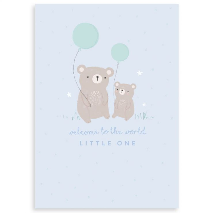 Personalised Bear Design New Baby Greetings Card