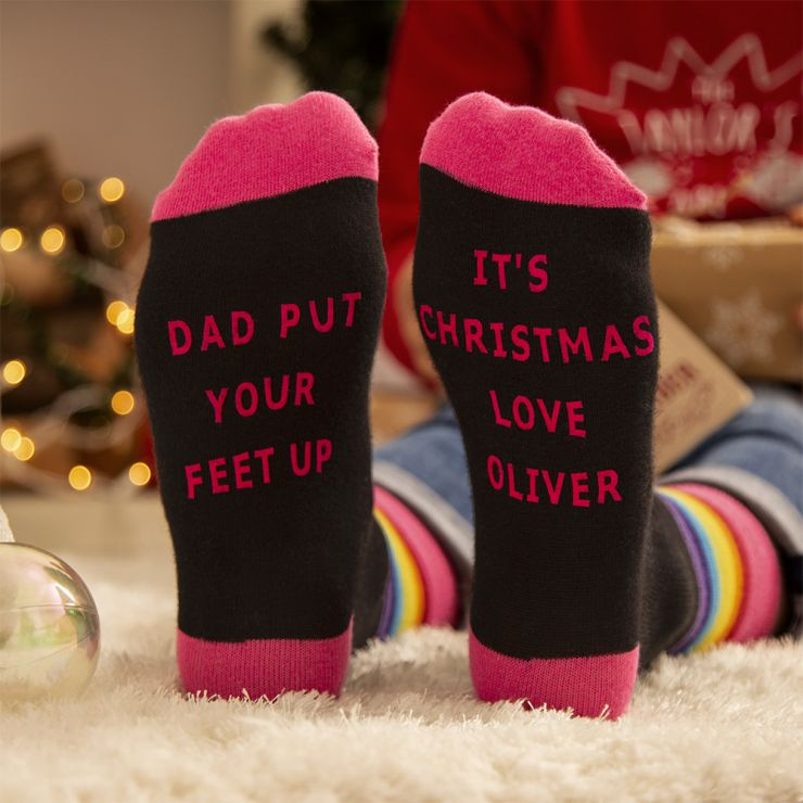 Personalised Colourful 'Put your feet up' Christmas Dad Socks