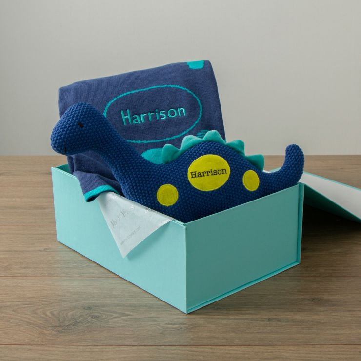 Personalized Blue Dinosaur Knitted Gift Set