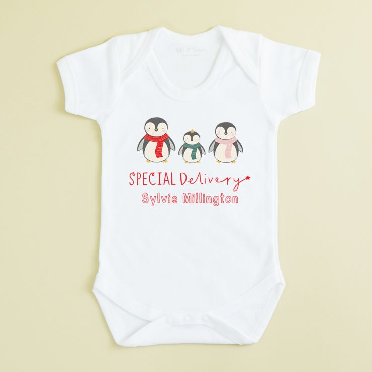 Personalised White Special Delivery Design Christmas Bodysuit