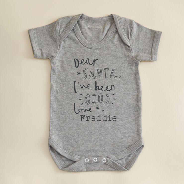 Personalized Gray Dear Santa Design Bodysuit