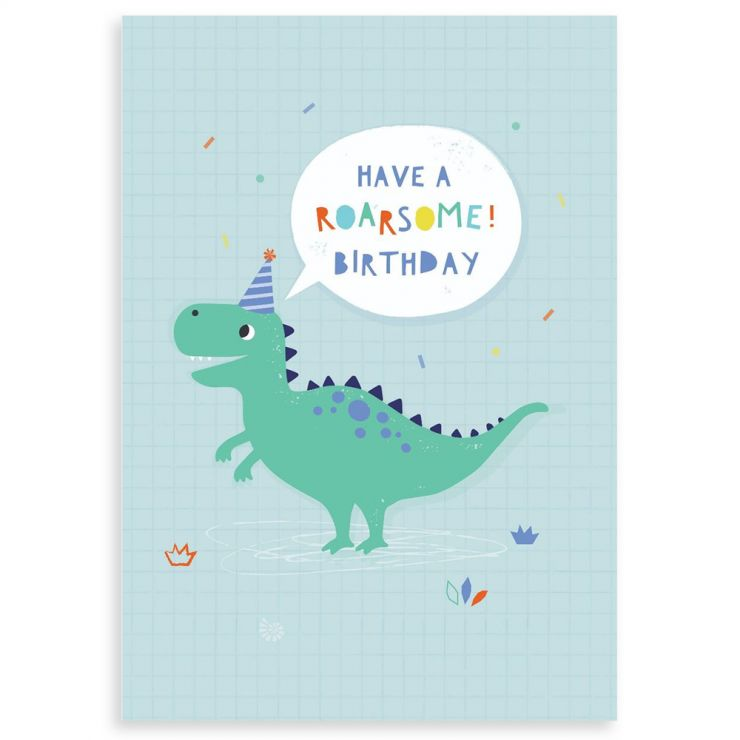 Personalized Dinosaur Design Children's Birthday Greetings Card
