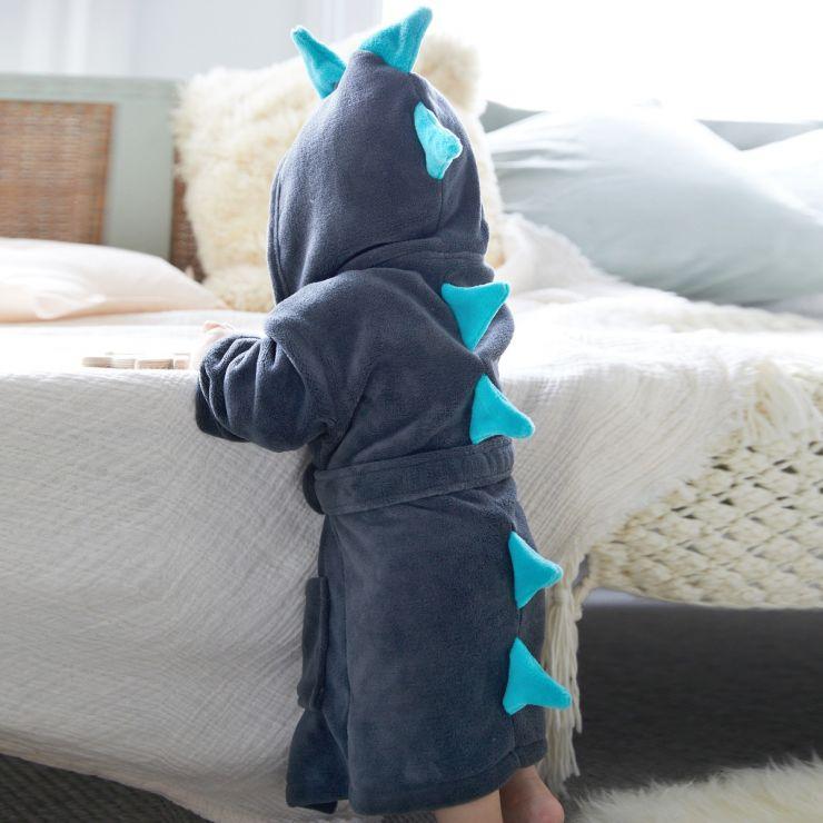Personalized Gray Dinosaur Robe