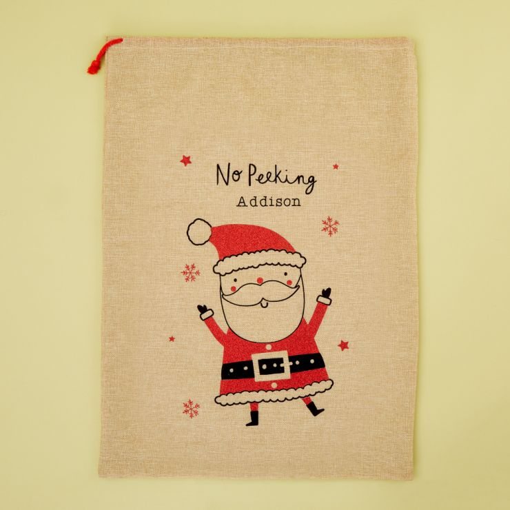 Personalised Santa Design Hessian Christmas Sack
