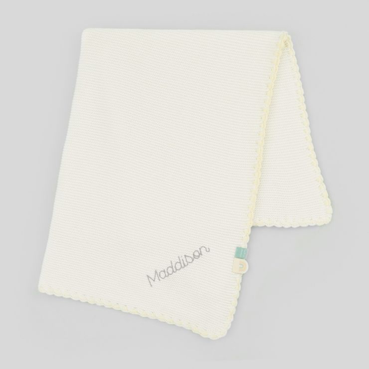 Personalised Ivory Baby Blanket with Yellow Trim