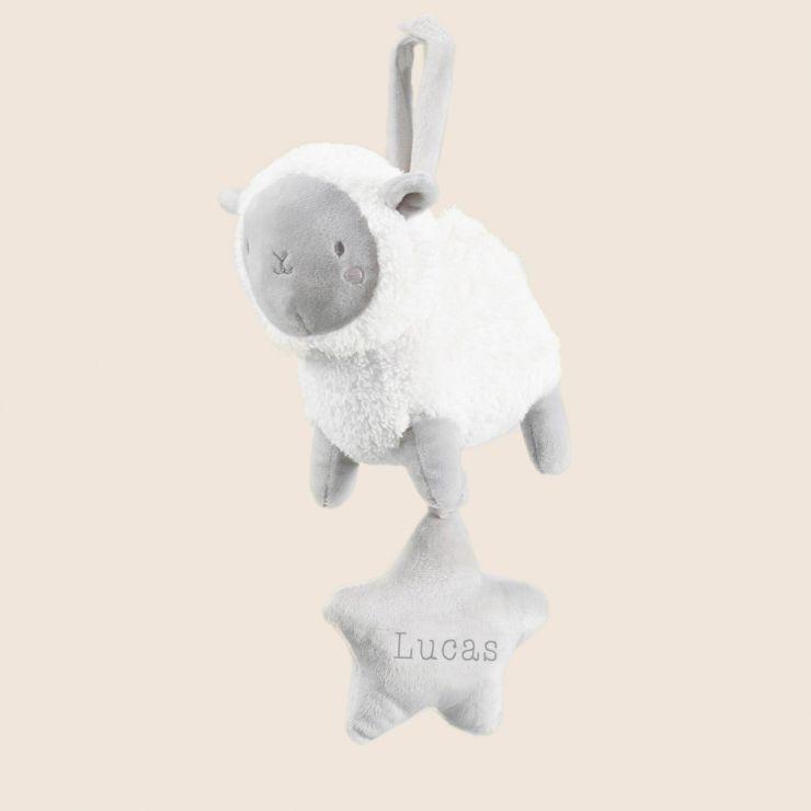 Personalised Little Lamb Musical Pram Toy
