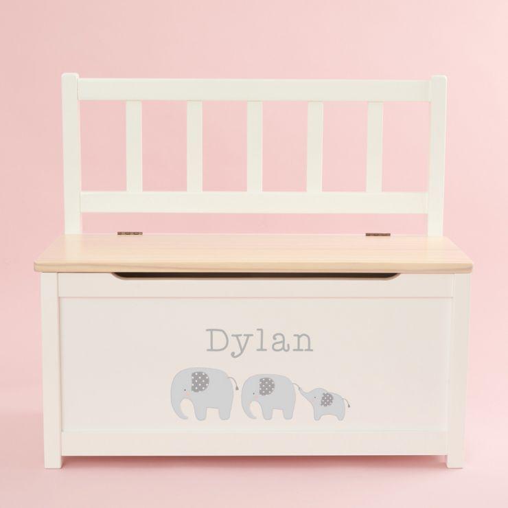 Personalised Elephant Design Toy Bench