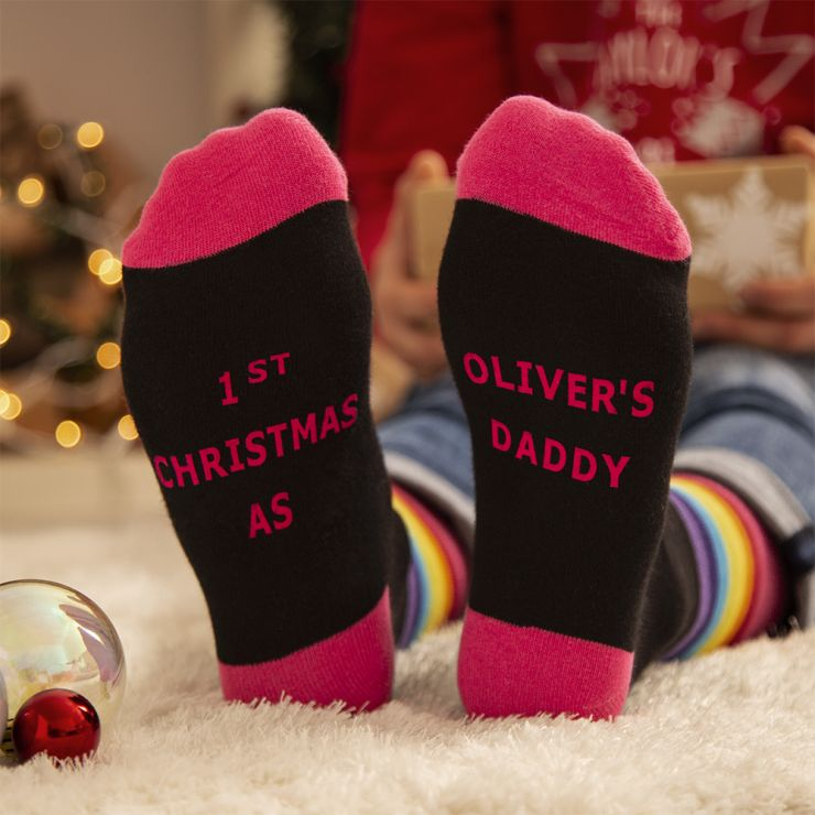 Personalised Colourful '1st Christmas' Dad Socks