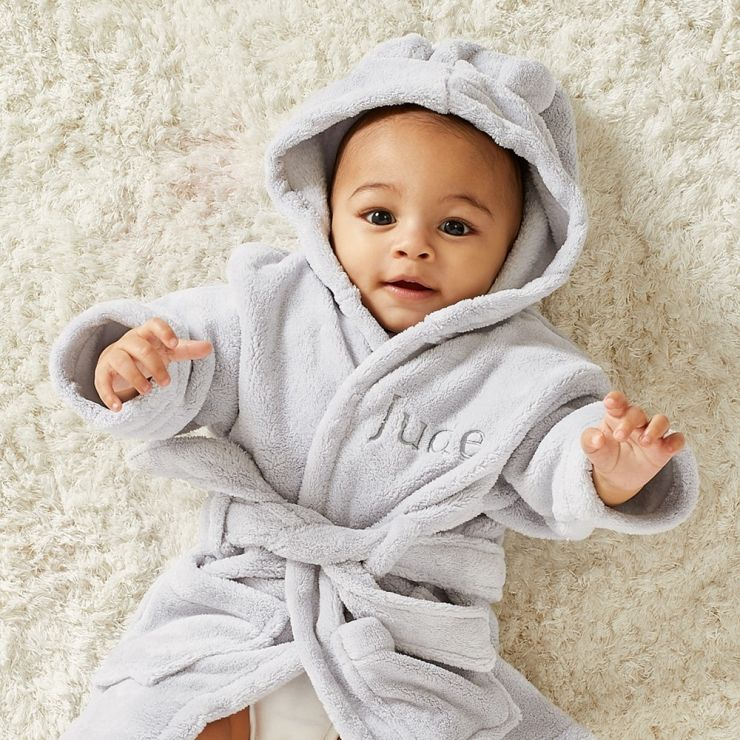 Personalized Gray Hooded Fleece Robe Model