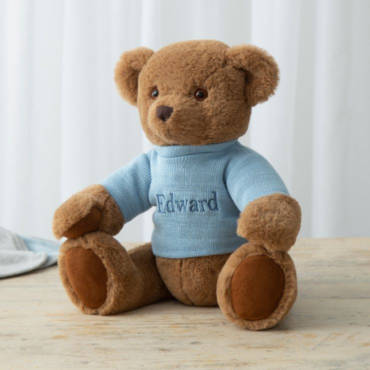 Personalised Traditional Brown Bear with Blue Jumper