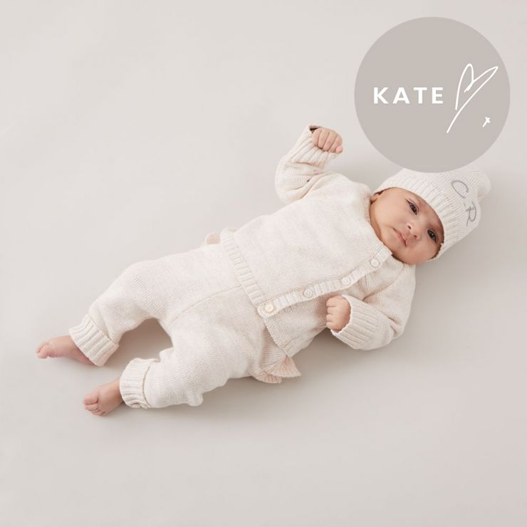 Personalised Pink Knitted Baby Outfit Set (3 piece)