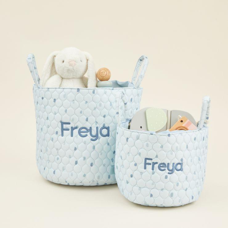 Personalised Blue Polka Dot Storage Bag Set