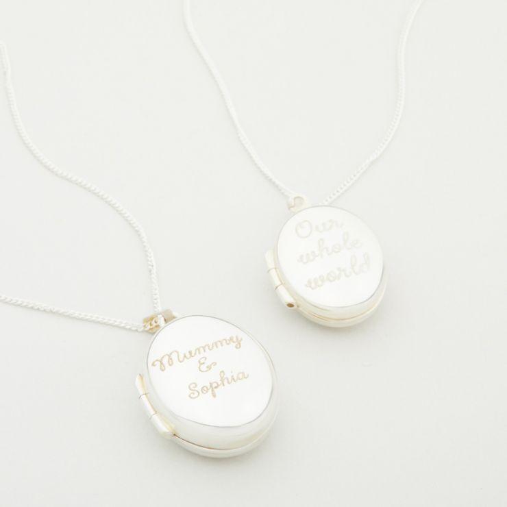 Personalised Silver Baby & Me Locket Gift Set