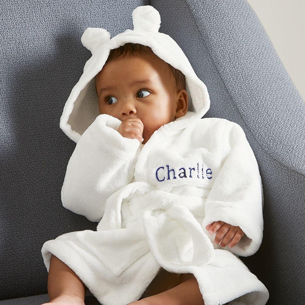 Personalized Ivory Hooded Fleece Robe Model
