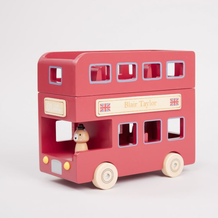 Personalised Little London Bus Wooden Toy