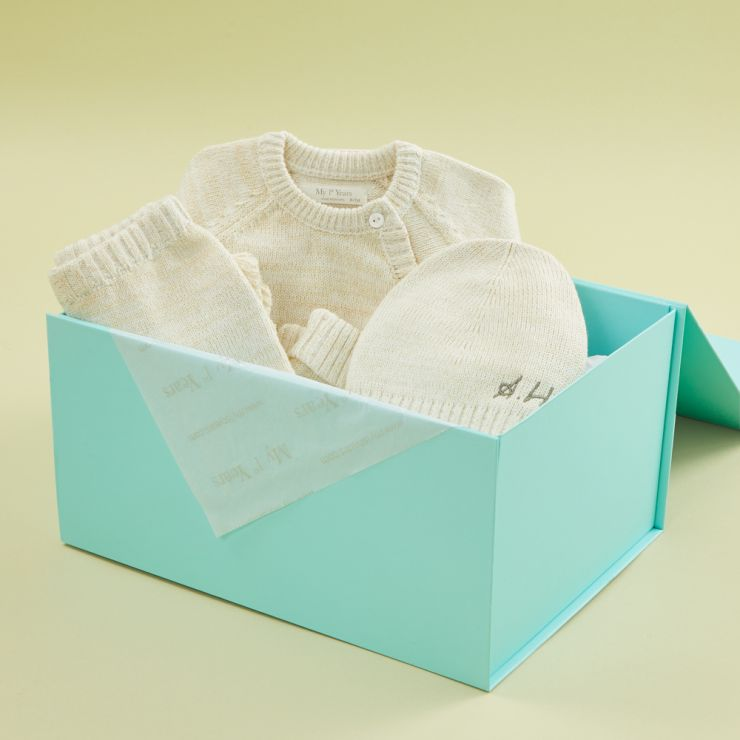 Personalized Oatmeal Knitted Baby Outfit Set (3 piece)