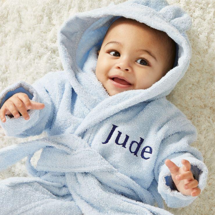 Personalised Blue Hooded Towelling Robe