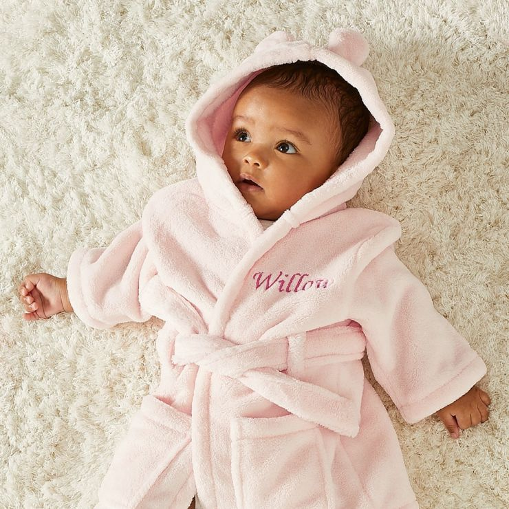 Personalised Pink Hooded Fleece Dressing Gown With Ears