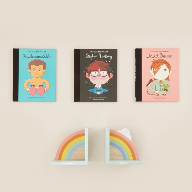 Personalised Little People, Big Dreams Mini Pioneers Book Collection with Rainbow Bookends
