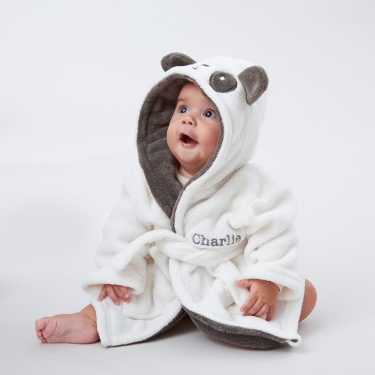 Personalised Monochrome Panda Robe Model