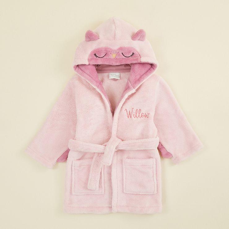 Personalised Pink Owl Robe Flat