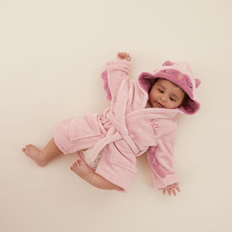 Personalised Pink Owl Robe Model