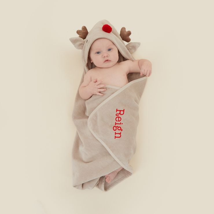 Personalised Reindeer Hooded Towel with Red Nose Model