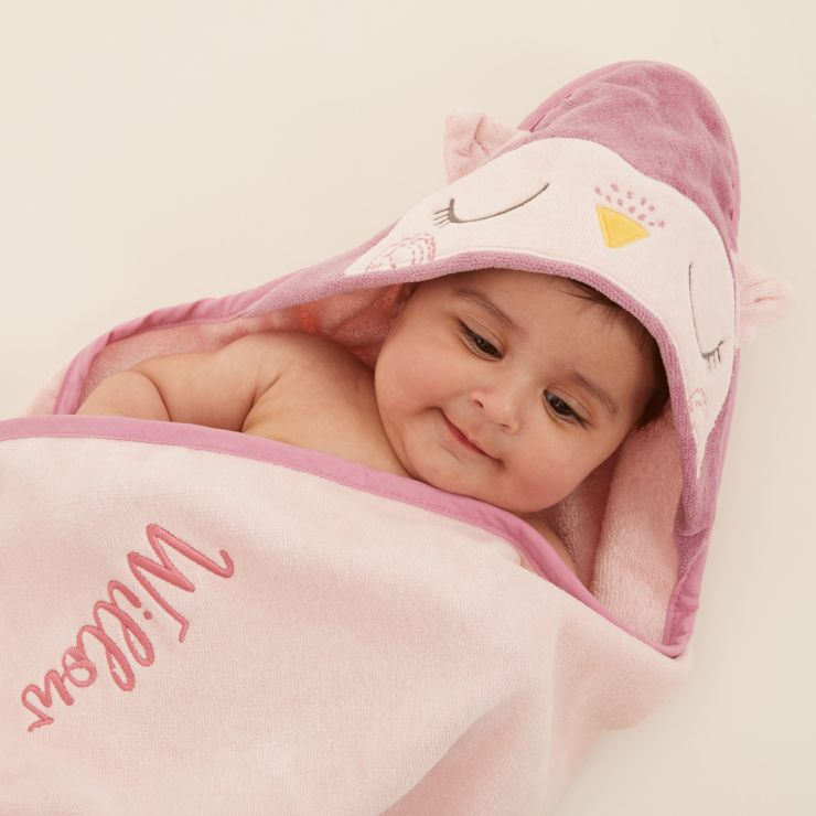 Personalized Pink Owl Hooded Towel Model 1