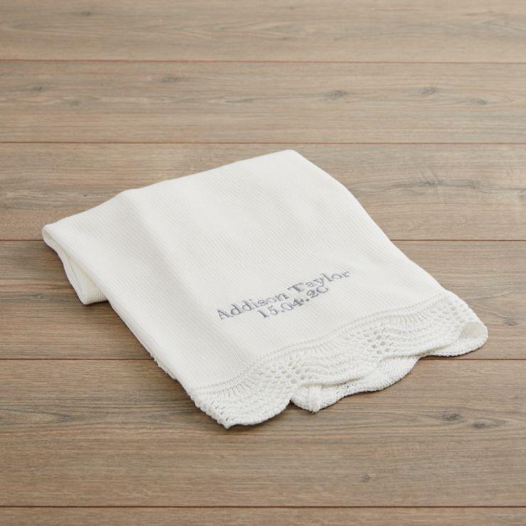 Personalised Cream Knitted Blanket